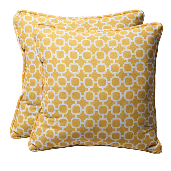 Pillow Perfect Hockley Square Outdoor Pillow - Setof 2