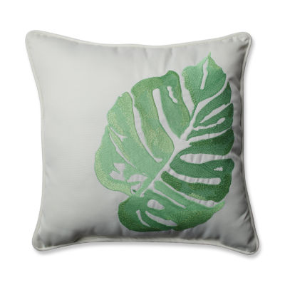 Pillow Perfect Leaf Embroidery Square Outdoor Pillow