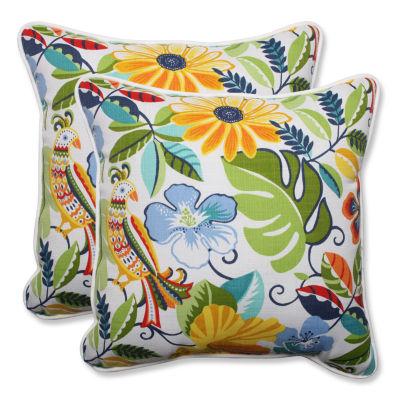 Pillow Perfect Lensing Garden Square Outdoor Pillow - Set of 2