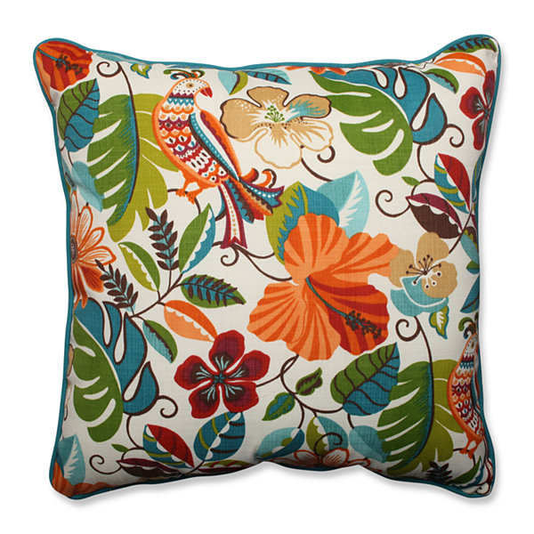 Pillow Perfect Lensing Jungle Square Outdoor FloorPillow