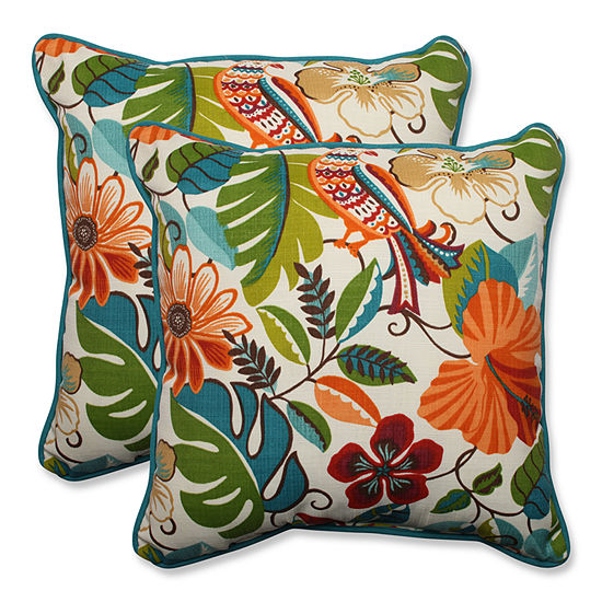 Pillow Perfect Lensing Jungle Square Outdoor Pillow - Set of 2