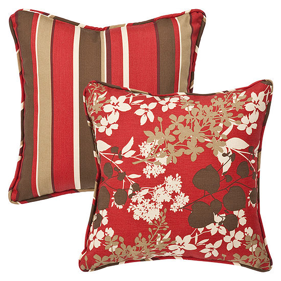 Pillow Perfect Montifleuri Monserrat Reversible Square Outdoor Pillow - Set of 2