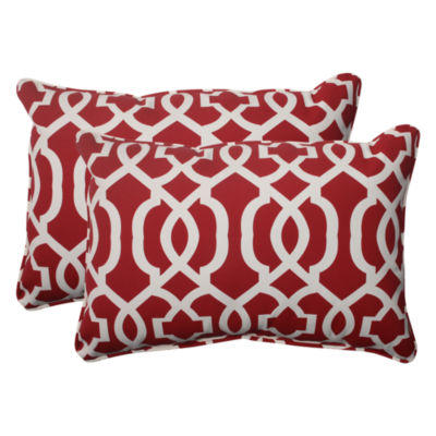 Pillow Perfect New Geo Over-sized Rectangular Outdoor Pillow - Set of 2