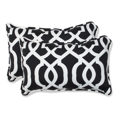 Pillow Perfect New Geo Rectangular Outdoor Pillow- Set of 2