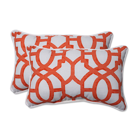 Pillow Perfect Pom Pom Play Over-sized RectangularOutdoor Pillow - Set of 2