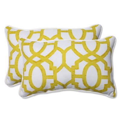 Pillow Perfect Nunu Geo Rectangular Outdoor Pillow- Set of 2