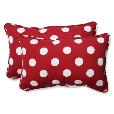 Pillow Perfect Polka Dot Rectangular Outdoor Pillow - Set of 2