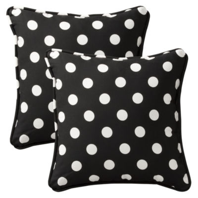 Pillow Perfect Polka Dot Square Outdoor Pillow - Set of 2