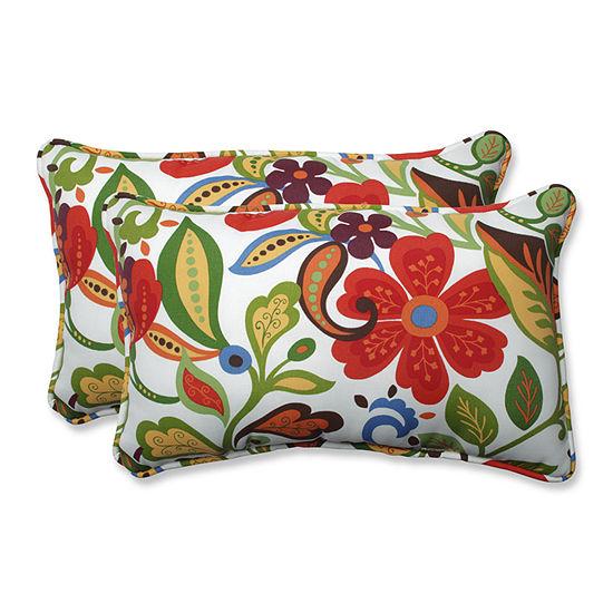 Pillow Perfect Wildwood Garden Rectangular Outdoorpillow Set Of 2