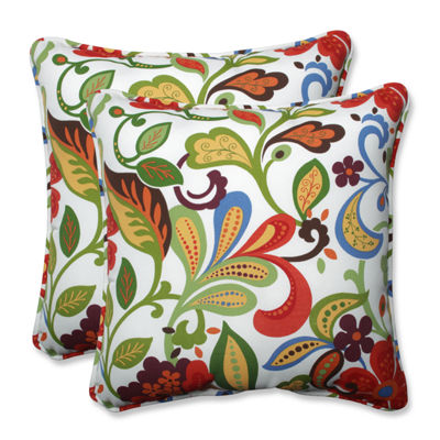 Pillow Perfect Wildwood Garden Square Outdoor Pillow - Set of 2