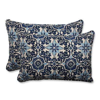Pillow Perfect Woodblock Prism Rectangular OutdoorPillow - Set of 2