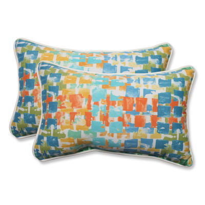 Pillow Perfect Quibble Sunsplash Rectangular Outdoor Pillow - Set of 2