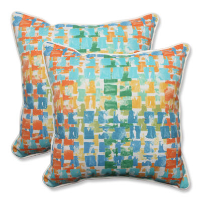 Pillow Perfect Quibble Sunsplash Square Outdoor Pillow - Set of 2