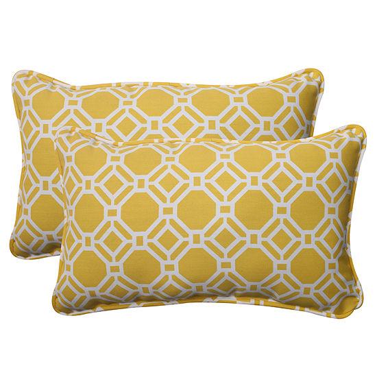 Pillow Perfect Rossmere Rectangular Outdoor Pillow- Set of 2