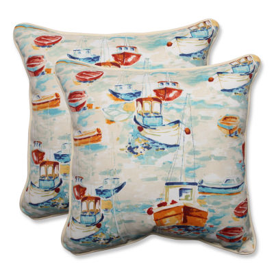 Pillow Perfect Spinnaker Bay Sailor Square OutdoorPillow - Set of 2