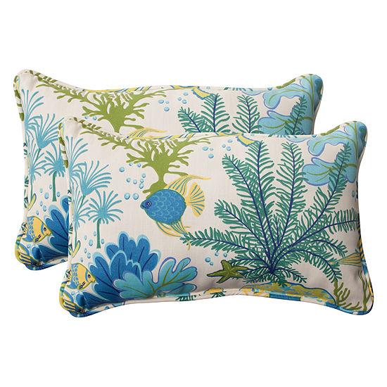 Pillow Perfect Splish Splash Rectangular Outdoor Pillow - Set of 2