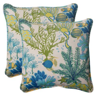 Pillow Perfect Splish Splash Square Outdoor Pillow- Set of 2