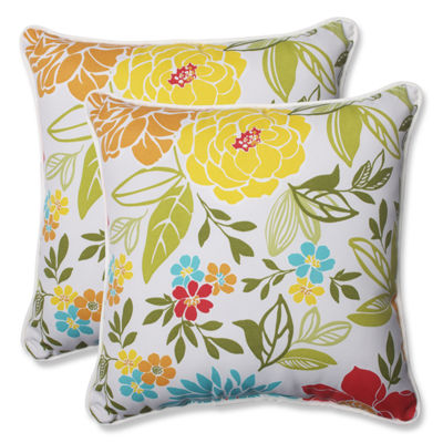 Pillow Perfect Spring Bling Square Outdoor Pillow- Set of 2