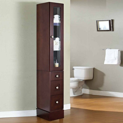 American Imaginations 13-in. W x 82-in. H Transitional Birch Wood-Veneer Linen Tower In Coffee