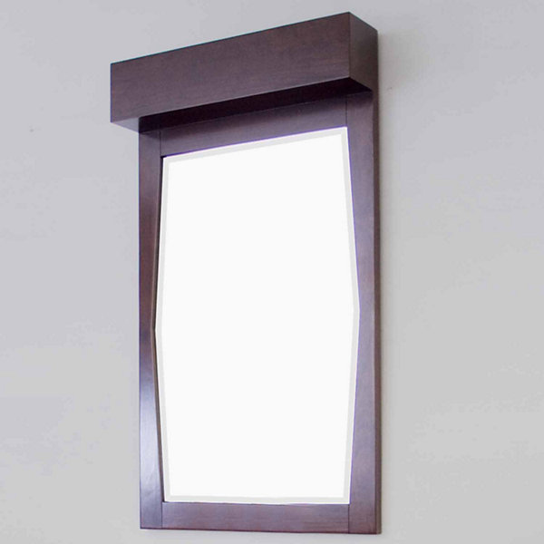American Imaginations Transitional Birch Wood-Veneer Bathroom Mirror