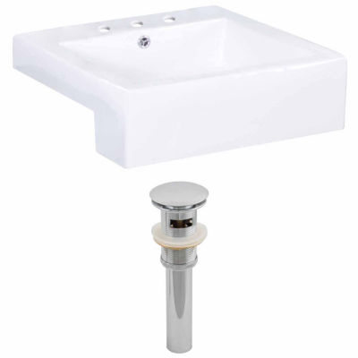American Imaginations 20.25-in. W Semi-Recessed White Vessel Set For 3H8-in. Center Faucet