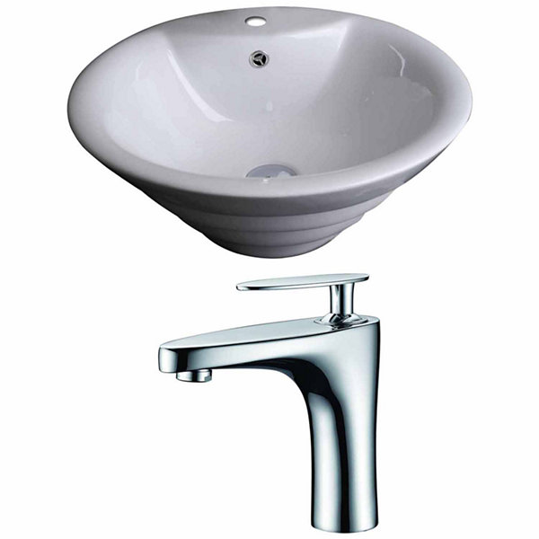American Imaginations 19.25-in. W Above Counter White Vessel Set For 1 Hole Center Faucet - Faucet Included