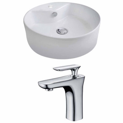 American Imaginations 18.25-in. W Above Counter White Vessel Set For 1 Hole Center Faucet - Faucet Included