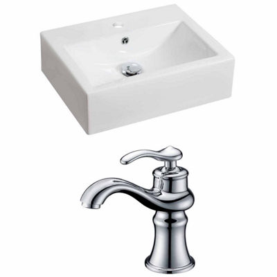 American Imaginations 20.25-in. W Above Counter White Vessel Set For 1 Hole Center Faucet - Faucet Included