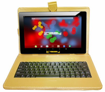 """LINSAY 10.1"""" 1280x800 IPS Screen Quad Core Android 7.1 Tablet 16GB with Keyboard Case"""