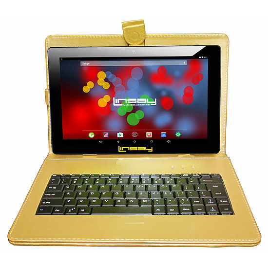 "LINSAY 10.1"" 1280x800 IPS Screen Quad Core 2GB RAM Android 8.0 Tablet 16GB with Keyboard Case"