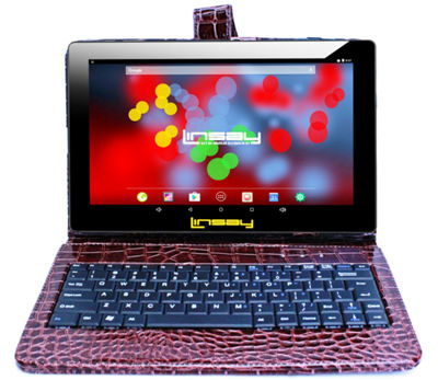"LINSAY 10.1"" 1280x800 IPS Screen Quad Core Android 7.1 Tablet 16GB with Crocodile Style Keyboard Case"
