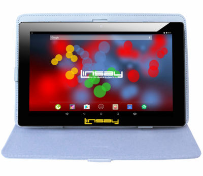 "LINSAY 10.1"" 1280x800 IPS Screen Quad Core Tablet 16GB with Leather Case"