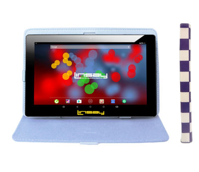 "LINSAY 10.1"" 1280x800 IPS Screen Quad Core Android 6.0 Tablet 16GB with Squares Leather Case"