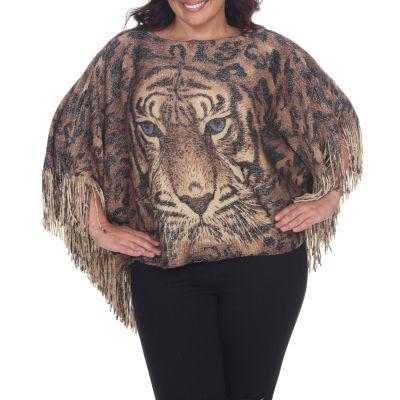 Tiger Print Poncho - Plus