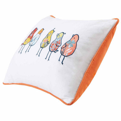 Chickas Birds Embroidered Cotton Oblong Throw Pillow
