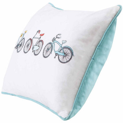 Cruz Bicycle Embroidered Cotton Oblong Throw Pillow