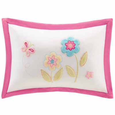 Flower Power Plush Embroidered Oblong Throw Pillow