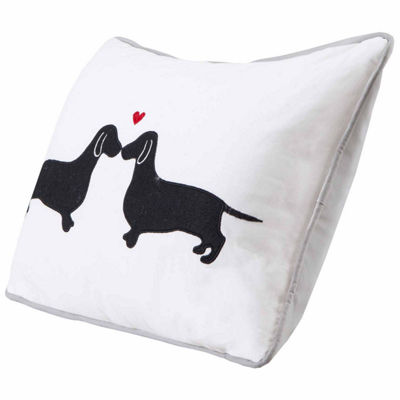 L'Amour Kissing Dog Applique Cotton Throw Pillow