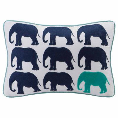 Lucky One Elephant Appliq Cotton Throw Pillow