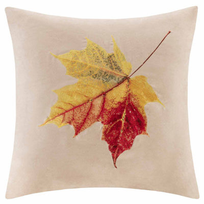 Madison Park Leaf Embroidered Square Throw Pillow