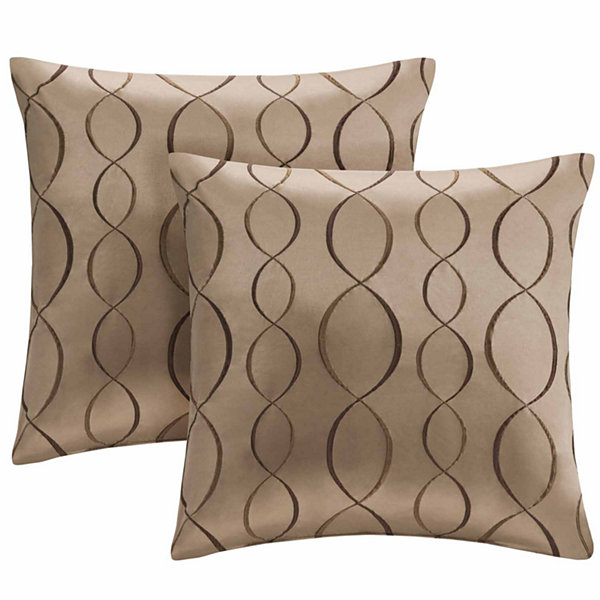 Madison Park Marcel Ogee Embroidered Taffeta Square Throw Pillow Pair