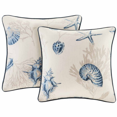Madison Park Nantucket Cotton Square Throw PillowPair