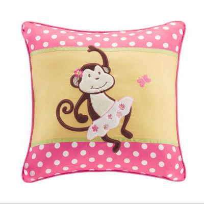 Monkey Madness Plush Square Throw Pillow
