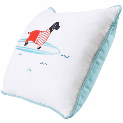 Oscar Surfboard Dog Appliq Cotton Throw Pillow