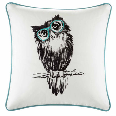Owlfred Owl Emb Cotton Square Throw Pillow