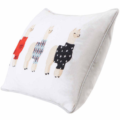 Sweater Weather Alpaca Embroidered Cotton Throw Pillow