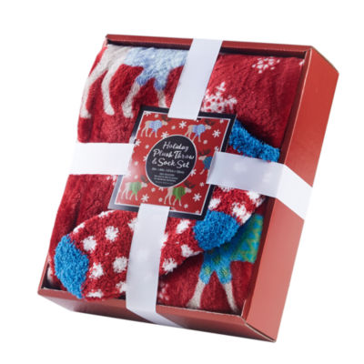 Throw with Socks Gift Set