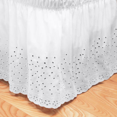 Embroidered Floral Eyelet Polyester Dust Ruffle Bed Skirt - 14 IN Drop