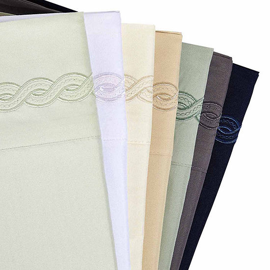 Cable Embroidery Microfiber Sheet Set
