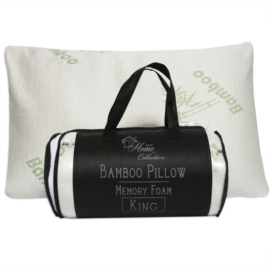 Sweet Home Collection Hypoallergenic Bamboo Memory Foam Pillow with Carry Bag